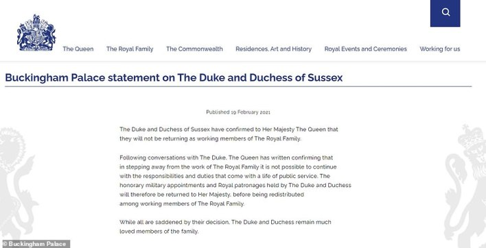 The statement issued by Buckingham Palace shortly after midday today, announcing the news about Harry and Meghan