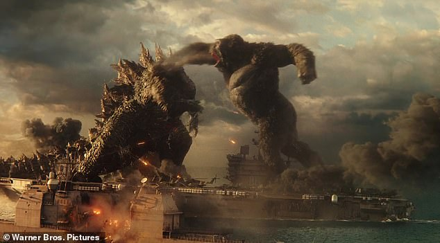 Finally here: Godzilla vs. Kong, which will be available to rent from streaming services later this week, is predicted to be the biggest box office opening since the start of the COVID-19 pandemic (film still)