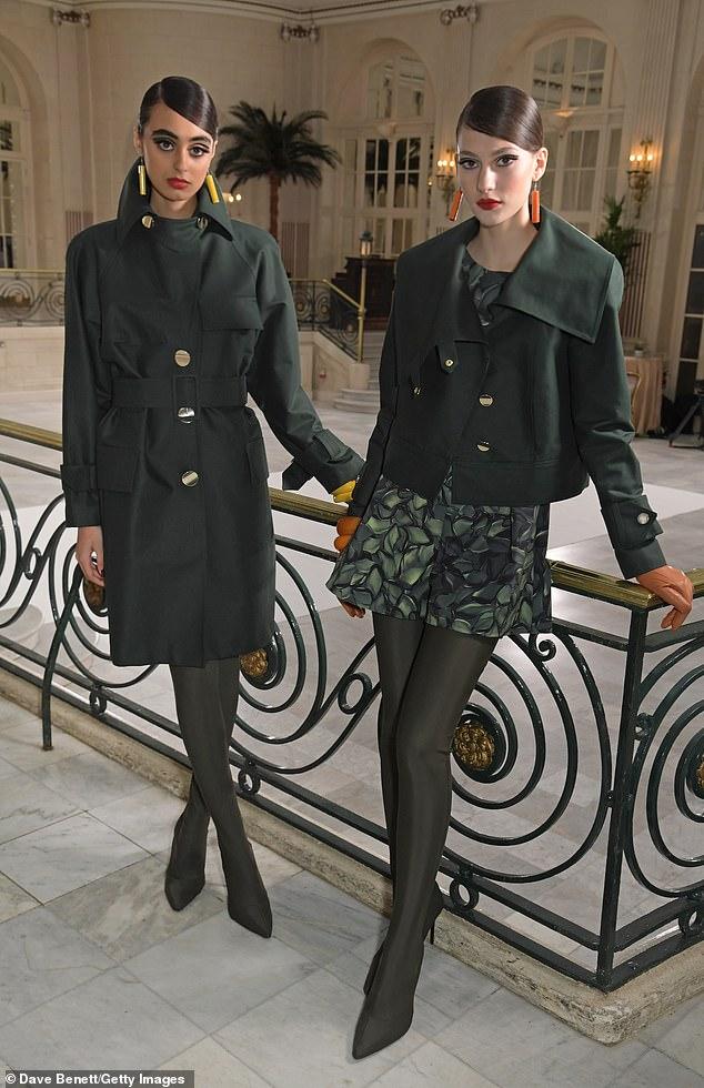 Models strike a pose at the Paul Costelloe digital presentation, filmed at London's The Waldorf Hilton Hotel this week
