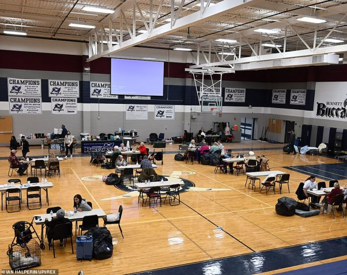 Wylie, Texas:Residents displaced by this week's severe winter weather take shelter in a school