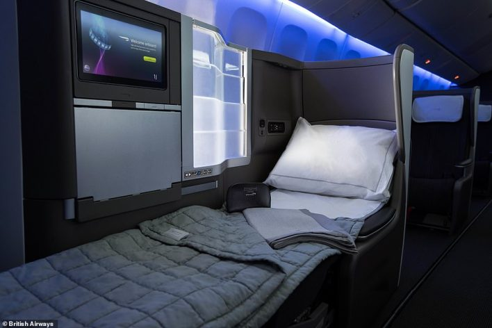 You can buy a British Airways business class return ticket from London to Montego Bay, Jamaica, for travel in January 2022 for £1,298, down from £2,200. BA flies a Boeing 777 on this route and pictured is its business class seat onboard