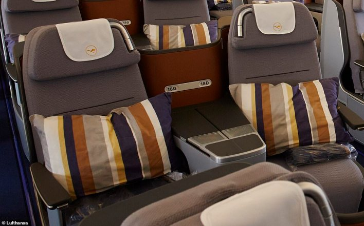 Travellers can currently book a business class return from Manchester to Dubai, with a stopover in Frankfurt, in September on Lufthansa for £1,046 - a saving of £1,154. Pictured above is a business class seat on a Lufthansa A380 but this exact seat is also used on the carrier's A330-300 that flies the Frankfurt to Dubai part of the journey