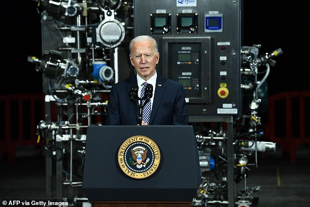 President Joe Biden delivered remarks on the vaccine roll-out and pushed Congress to pass his COVID-19 relief plan during his trip to a Pfizer plant Friday in Kalamazoo, Michigan