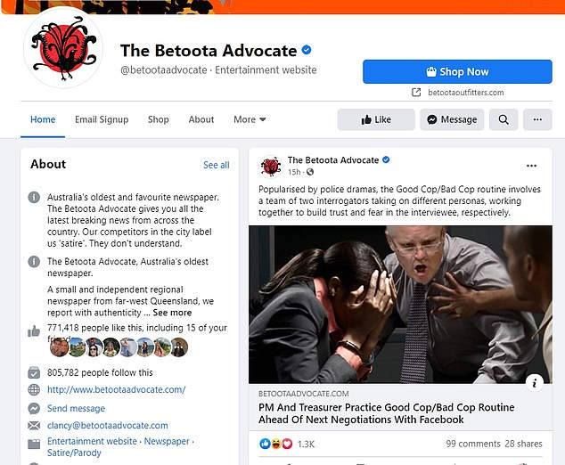 Satirical websites such as The Betooda Advocate have been thriving amid Facebook's ban on credible news sources. Despite being widely known as a comedy site - many people still fall for the article and think they're real