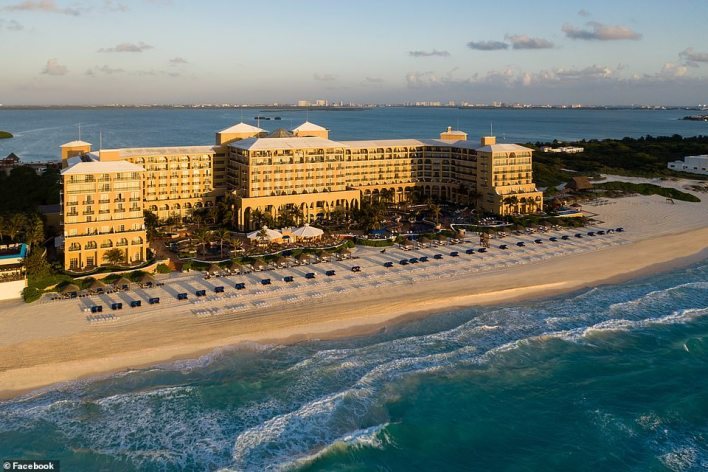 The Ritz Carlton in Cancun, pictured, where the Cruz family is staying costs $300 a night