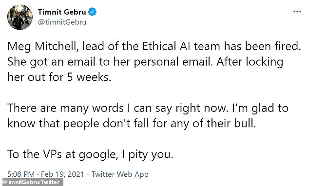 Current and former google AI researchers took to Twitter to post about Mitchell being fired