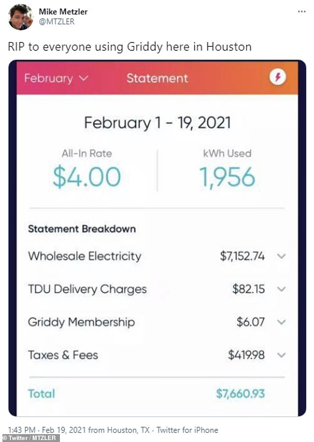Electricity bills for many homeowners in Texas skyrocketed this week, including one who had to pay $7,660.93 for the first three weeks of February