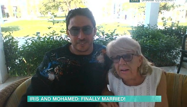 Iris also appeared on This Morning in November where she spoke of celebrating her wedding to her husband (pictured together) at the local KFC