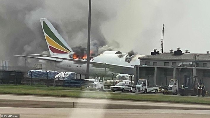 Terrifying footage has captured the moment a Boeing 777 engulfed by a huge blaze and smoke at an airport in China. The Ethiopian Airlines cargo plane caught fire at around 4pm on July 22, 2020