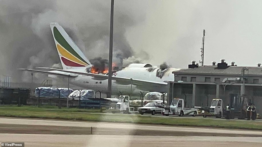 Terrifying footage has captured the moment a Boeing 777 engulfed by a huge blaze and smoke at an airport in China.The Ethiopian Airlines cargo plane caught fire at around 4pm on July 22, 2020