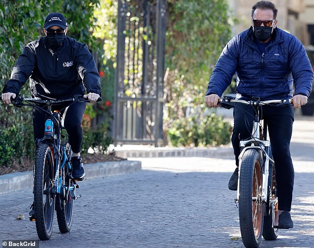 Out and about:The Hollywood heartthrob was also seen enjoying a bicycle ride that day with his physical therapist girlfriend Heather Milligan who is in her 40s
