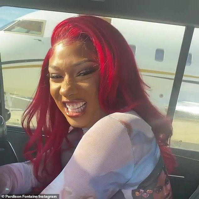 Sweet ride: Fontaine caught Megan's reaction to his private jet in a video