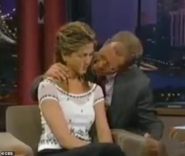 'Uncomfortable to watch!'Another David Letterman interview has resurfaced for which he has been deemed 'inappropriate', in which the late night talk show host, now 73, sucks on actress Jennifer Aniston's hair