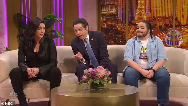 From left: Gina Carano as portrayed by Cecily Strong; Cuomo as played by Pete Davidson; and Cruz as portrayed by Aidy Bryant