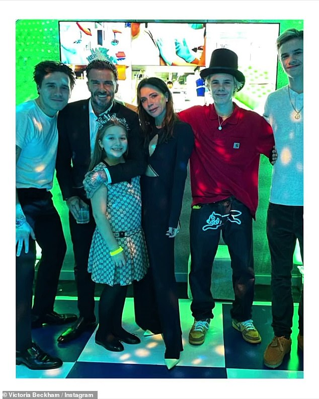 Family: She included snaps of all of her family together. Pictured (L-R) are Brooklyn, David, Harper, Victoria, Cruz and Romeo