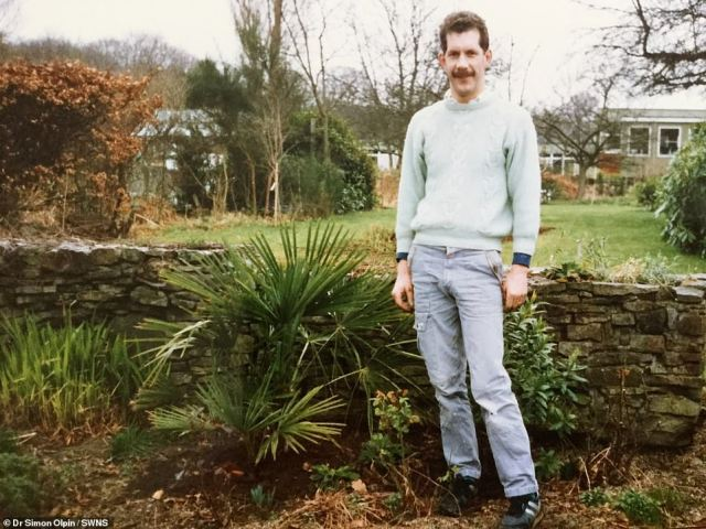 His first tree was an 18-inch Chinese windmill plant which he purchased from a university sale in 1987 (pictured in 1987)
