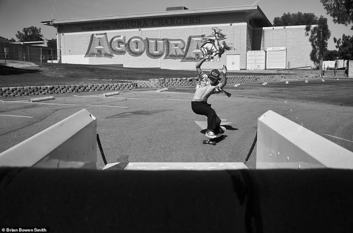 'This is my son Jona skating in front of the school that he won't be in his whole freshman year due to coronavirus. But I've always taught him to try to make the best of things. He really wanted to be a part of this book. I love this picture' - BBS