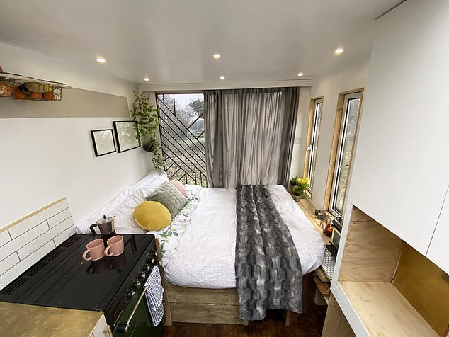 Measuring 20ft by 6ft 6in, it boasts a stylish downstairs living space, complete with kitchen, bathroom with shower, home office and a sofa lounge area that can convert into a dining room or spare bedroom