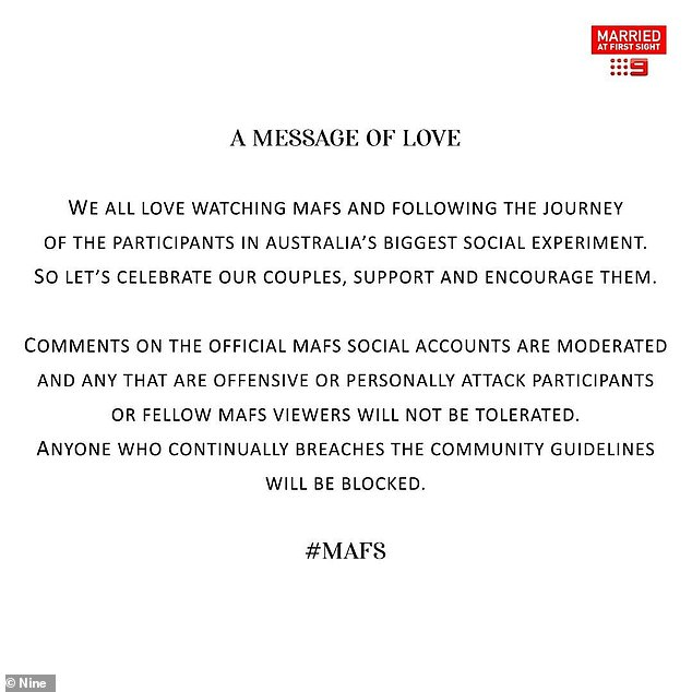Taking a stand:Channel Nine have released a powerful 'message of love' ahead of the new season of Married At First Sight, saying they 'won't tolerate' troll comments on social media
