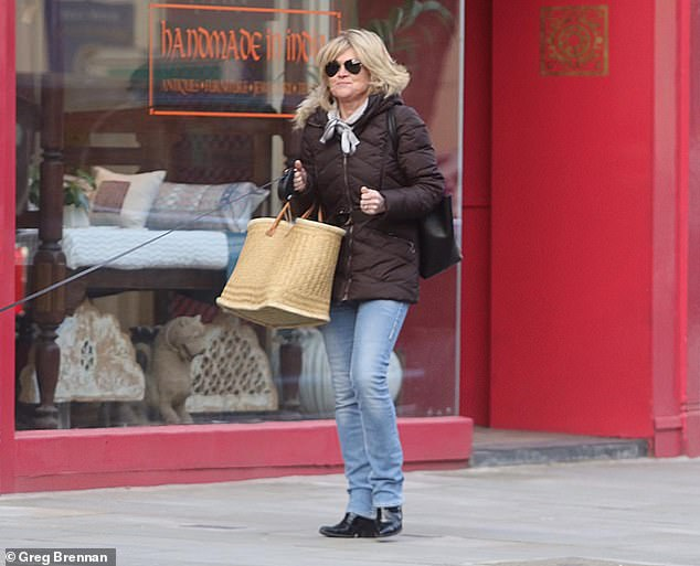 What a day:The former Blue Peter presenter, 60, is thought to have held the gathering for at least five pals on February 12, hours after she sparked a furore when she posed a cartoon showing an overweight woman and a lady not wearing a mask on Twitter (pictured on Feb 12)