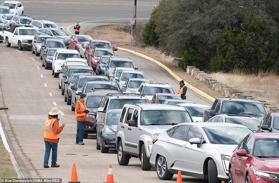 Drivers were only allowed one case per car after some waiting three hours on Sunday in Oak Hill, Austin