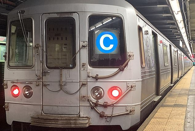 Pictured: A train on the subway's C line, which is the line where Saturday's attack took place