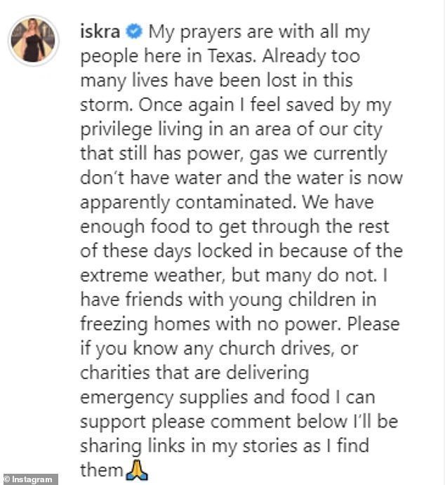 Iskra Lawrence reveals she hasn't had water for a WEEK after outages in Texas, Nzuchi Times