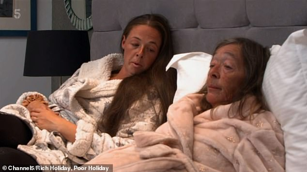 To help them relax, Genna and Sue (pictured) were treated to a luxury massage at their five-star resort. And the chance to slow down for once gave Genna time to think