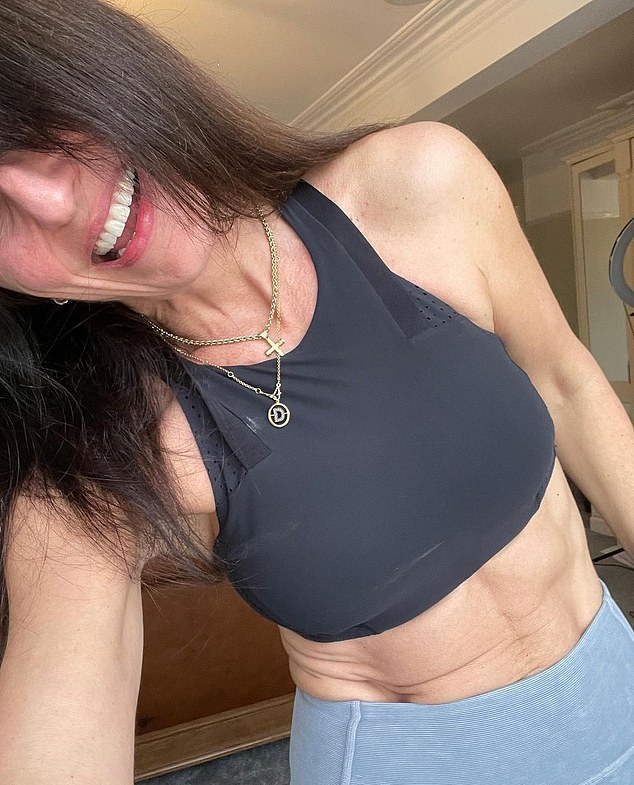 Great body of work: Davina McCall flaunted the fruits of her labour on Instagram on Monday morning, when she took to Instagram to share a snap of herself working out at home