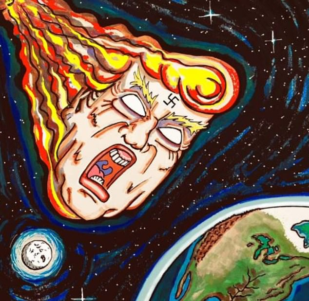 One of Carrey's cartoons shows a meteor-like figure with Trump's head and hair in a flaming ball of streaking fire as it heads for Earth. A swastika is seen on Trump's forehead