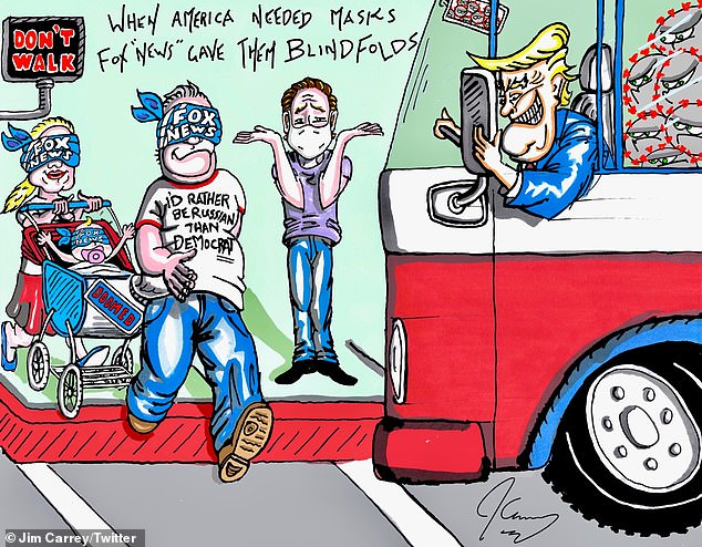 """In a cartoon attack on Trump and Fox News during the pandemic, Trump drives a GOP bus towards a crosswalk where a blinded family of Fox viewers are crossing: 'When America needed masks Fox """"News"""" gave them blindfolds'"""