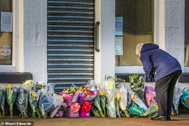 Floral tributes have been laid outside her popular business The Laird's Larder on Monifieth High Street in Scotland
