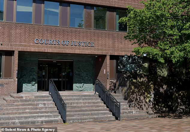 At the end of last week Brandford was found guilty at Portsmouth Crown Court (pictured) of disclosing private sexual photos of her, the jury having spent four hours 14 minutes deliberating