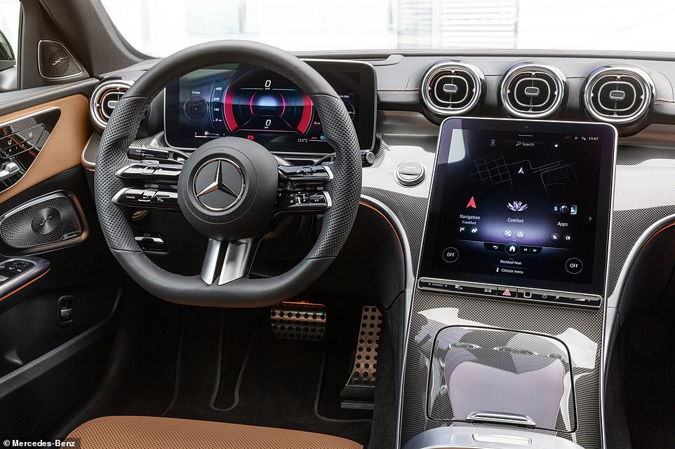 The new C-Class's 'Smart Home' function allows the driver or passenger to check remotely on their home and even run appliances from their car-seat using Alexa-style voice commands. It is part of the wider hi-tech Mercedes-Benz User Experience or 'MBUX' digital assistant system fitted to its cars