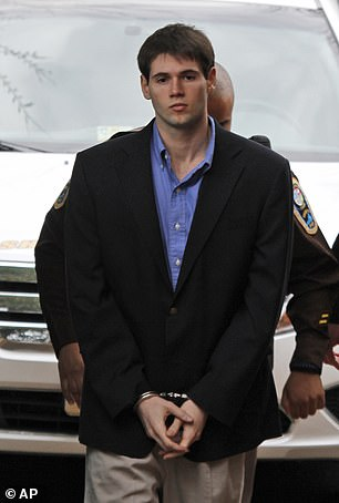 Huguely in 2012 was found guilty of second-degree murder in 2012 (pictured at the time)