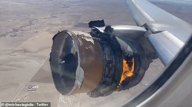 DENVER: Video recorded by passengers aboard Flight UA328, which was carrying 231 travelers and 10 crew members, shows the engine on fire