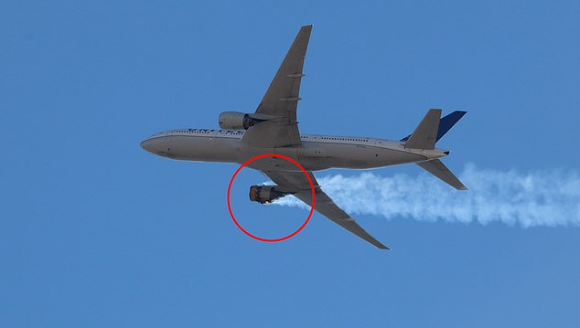 DENVER: United Airlines said late Sunday it will immediately halt all flights by its fleet of 24 Boeing 777 airplanes with the same type of engine involved in Saturday's emergency landing in Denver. Pictures taken from the ground show the jet's engine on fire and trailing smoke on Saturday