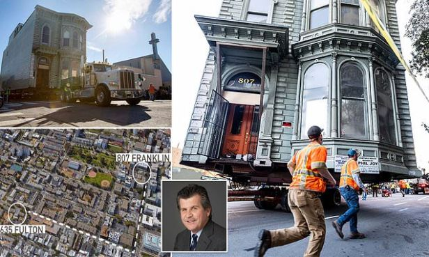 Victorian house in San Francisco is ROLLED to its new location