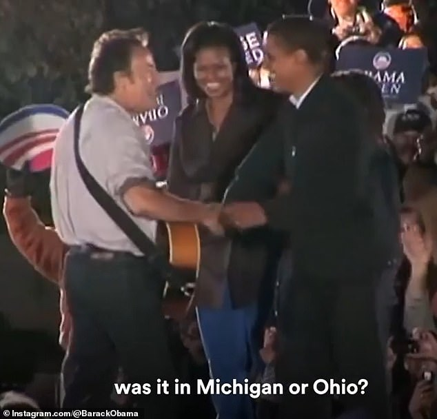 Bruce Springsteen with Michelle and Barack Obama, the first time they met, at a campaign event in 2008