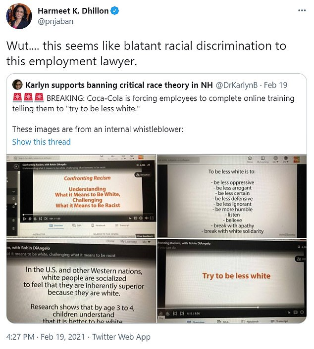 The slides were re-tweeted by Harmeet K. Dhillon, a leader of the Republican National Committee in California
