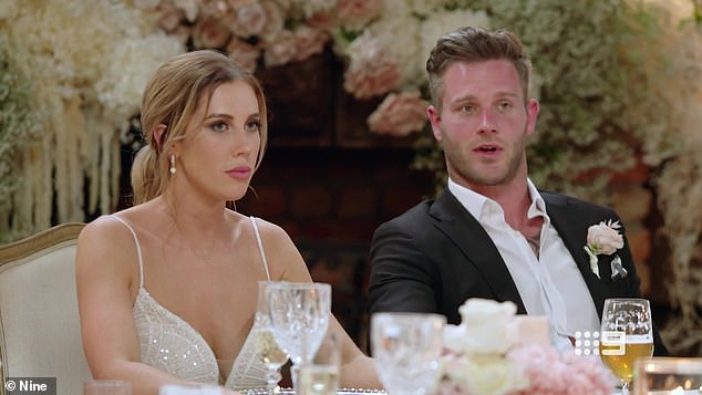 Not what she ordered!The Perth business manager, 27, looked down her nose at husband Jake Edwards (right) during their wedding on Monday's season premiere of Married At First Sight