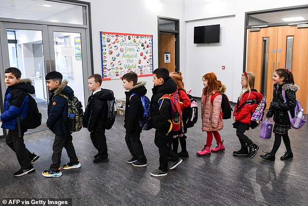Clyde Primary, Glasgow Pupils arrive at school in their uniforms for the first time this year on Monday