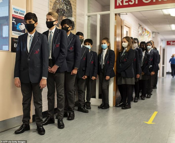 Year 8 pupils at Moor End Academy in Huddersfield, Northern England in September 2020