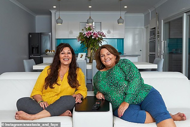 Support her friend!  Anastasia's criminal partner on Gogglebox Australia, Faye Kontos (left), commented on her engagement post on Monday, writing: 'Congratulations Anastasia and Gab on your engagement.  May you both have happiness and love each other forever '
