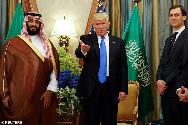 Mohammed bin Salman is pictured meeting Donald Trump and Jared Kushner in May 2017