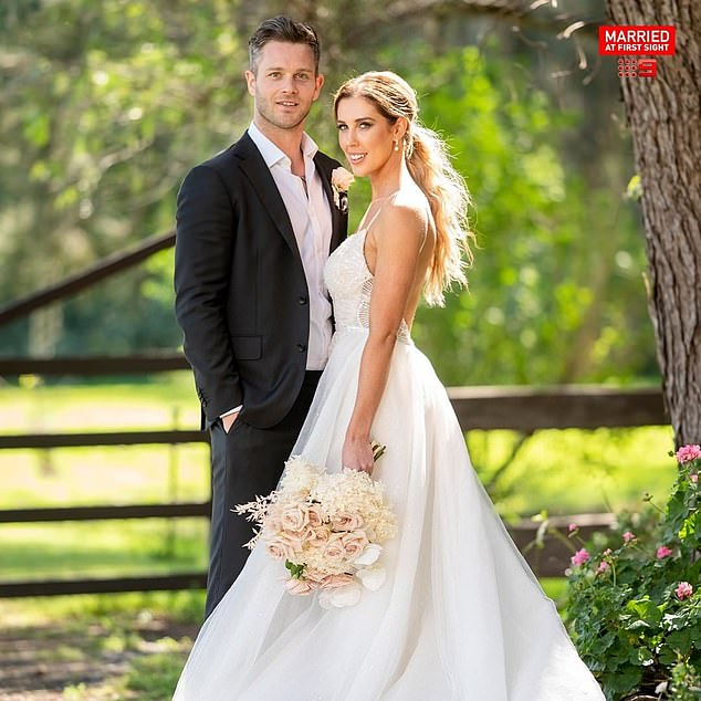 New beginnings: Rebeccamarried former AFL player-turned-charity CEO Jake in a lavish wedding on Monday night's premiere of Married At First Sight. Pictured with Jake