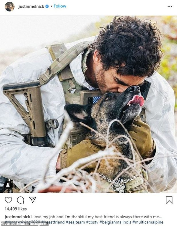 Before landing the role of recurring actor in 2017, Melnick served as an animal handler on the SEAL team (pictured with Dita)