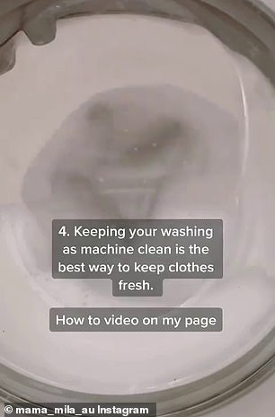 For soiled clothing, Chantel said she applies a few drops of eucalyptus oil and baking soda as a chemical-free 'pre-wash stain remover'; she also recommends cleaning your machine
