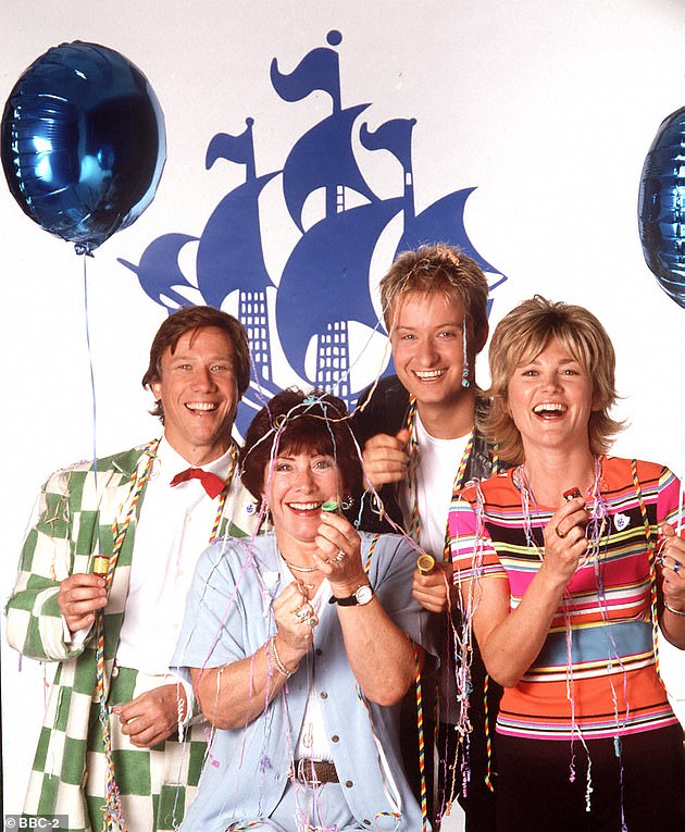 Throwback: Anthea is known for her stint presenting Blue Peter and was famous for her making segments [Pictured L-R:Peter Duncan, Valerie Singleton, Stuart Miles and Anthea in 1998]