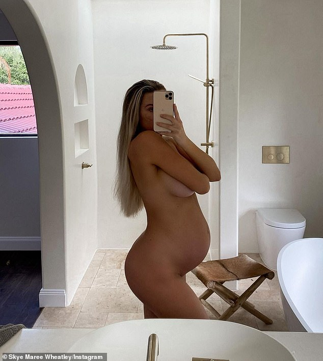 Bump nicely!  Skye Wheatley posted another nude snap on Instagram on Tuesday.  Photographed here in an Instagram post earlier this month